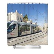 Modern Tram In Central Jerusalem Israel Shower Curtain