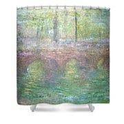 Monet's Waterloo Bridge In London At Dusk Shower Curtain