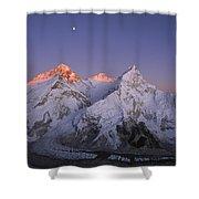 Moon Over Mount Everest Summit Shower Curtain