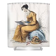 Morning Dress, Fashion Plate Shower Curtain by English School
