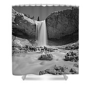 Mossy Cave Waterfall Bw Shower Curtain