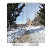 Motor Mill Winter Shower Curtain