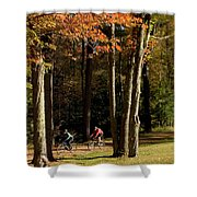 Mountain Bikers Ride In New Gloucester Shower Curtain