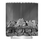 Mountain Peaks And Shimmering Sky Shower Curtain