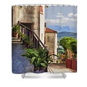 Mountain Village Impasto Shower Curtain