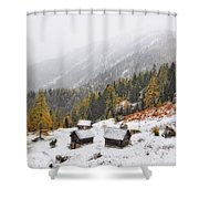 Mountain With Snow Shower Curtain