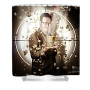Movie Man Holding Cinema Popcorn Bucket At Film Shower Curtain