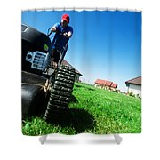 Mowing The Lawn Shower Curtain