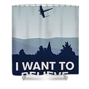 My I Want To Believe Minimal Poster-xwing Shower Curtain
