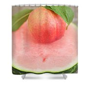 Nectarine With Leaves On Slice Of Watermelon Shower Curtain