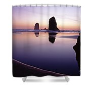 Needles Silhouetted Cannon Beach Oregon Shower Curtain