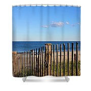 New England Beach Past A Fence Shower Curtain