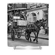 New Orleans - Carriage Ride Bw Shower Curtain