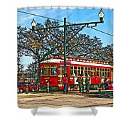 New Orleans Streetcar Painted Shower Curtain
