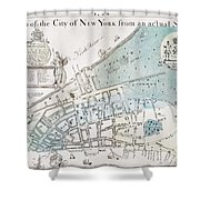 New York City Map, 1728 Shower Curtain