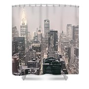 New York City - Snow Covered Skyline Shower Curtain