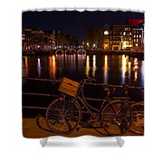 Night Lights On The Amsterdam Canals. Holland Shower Curtain
