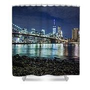 Night View To Manhattan Shower Curtain