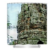North Gate Of Angkor Thom In Angkor Wat Archeological Park-cambodia Shower Curtain