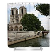Notre Dame Along The Seine Shower Curtain
