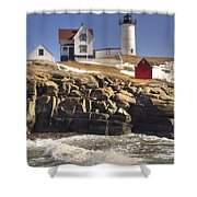 Nubble Lighthouse 3 Shower Curtain by Joann Vitali
