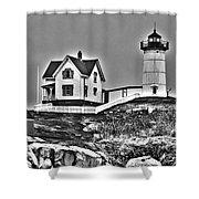 Nubble Lighthouse Cape Neddick Maine Shower Curtain by Glenn Gordon