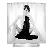Nude Lace Shower Curtain