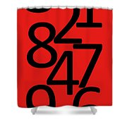 Numbers In Red And Black Shower Curtain