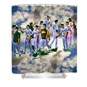 Oakland A's High Five Shower Curtain