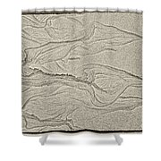 Ocean Sand Art Hearts Left Side Shower Curtain