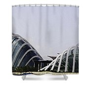 Oil Painting - Both Of The Conservatories Of The Gardens By The Bay In Singapore Shower Curtain