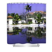 Oil Painting - Cottages And Lagoon Water In Alleppey Shower Curtain