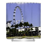 Oil Painting - Preparation Of Formula One Race With Singapore Flyer And Marina Bay Sands Shower Curtain