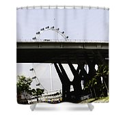 Oil Painting - Span Of The Benjamin Sheares Bridge With Its Pillars In Singapor Shower Curtain