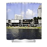 Oil Painting - View Of The Preparation For The Formula One Race In Singapore Shower Curtain