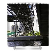 Oil Painting - View Under The Bayfront Bridge And Helix Bridge In Singapore Shower Curtain