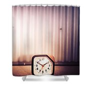 Old Analog Clock Shower Curtain