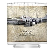 Old Crow P-51 Mustang - Map Background Shower Curtain