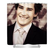 Old Fashion Business Service With A Smile Shower Curtain