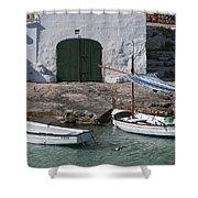 Typical Mediterranean Fishermen Boat And House In Minorca Island - Old Fishermen Villa Shower Curtain