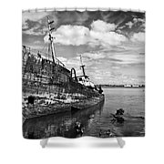 Old Fishing Ship Wreck Shower Curtain