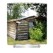 Old Log Homestead Shower Curtain