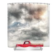 Old Red Ford Pickup Shower Curtain