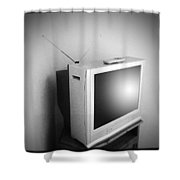 Old Television Shower Curtain by Les Cunliffe