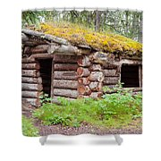 Old Traditional Log Cabin Rotting In Yukon Taiga Shower Curtain