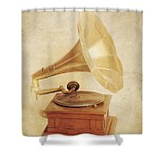 Old Vintage Gold Gramophone Photo. Classical Sound Shower Curtain