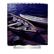 Old Wooden Boats At Night Shower Curtain