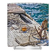 Old Wooden Fishing Boat Detail Shower Curtain