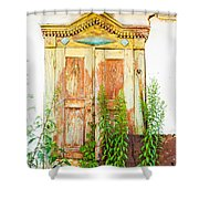 Old Wooden Window Shower Curtain