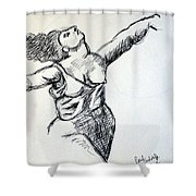 On The Beach Sketch Shower Curtain